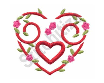 Floral Puffy Heart - Machine Embroidery Design