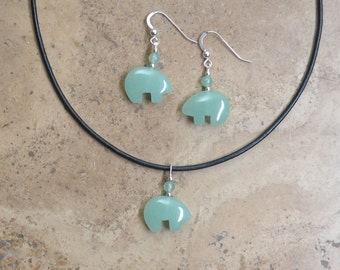 Zuni Fetish style Green Aventurine Bear Earrings & Necklace SET, beaded with Sterling Silver