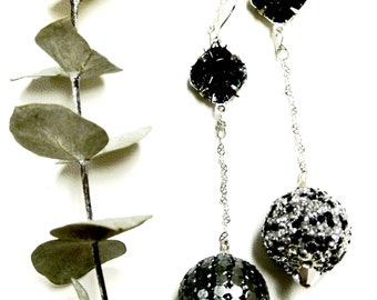 Artisan Kashmiri earrings, Black & silver/perfectly mismatched **Free Shipping**