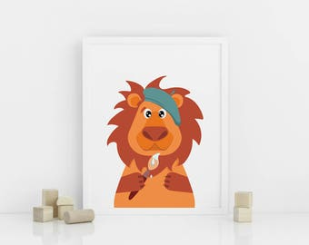 Lion nursery print, Printable Nursery Animal Wall Art, Nursery Decor, Artistic Lion with a brush, Digital download