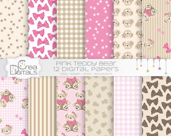 Teddy bear - 12 pink digital papers - INSTANT DOWNLOAD