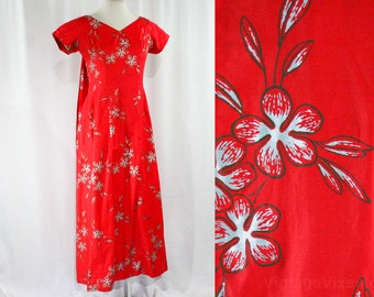 Size 10 Hawaiian Lounge Dress - Vivid Red Cotton - Metallic Silver Lei Flowers - 60s Elsie Krassas - Waikiki Hawaii - Bust 39 - 44120