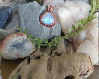 Moonstone Copper Wire Wrapped Pendant