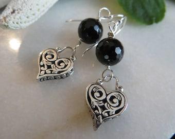 Heart Earrings, Sterling Silver Earrings, Black Tourmaline Earrings, Faceted Semi-Precious Gemstone Earrings, Drop Dangle Black Earrings
