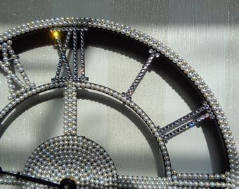 Metal wall clock hand encrusted with over 2,000 luxury Preciosa TM pearls and crystals