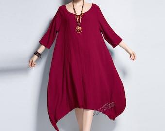 Anysize irregular linen&cotton loose dress plus size dress plus size tops plus size clothing Spring Summer dress Spring Summer clothing Y104