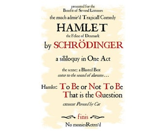 T-SHIRT: Schrodinger's Hamlet / Pursued By Cat - Classic T-Shirt & Ladies Fitted Tee - (LazyCarrot)