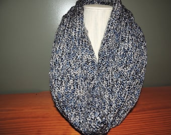 Infinity scarf, Variegated, Blues, grays and white
