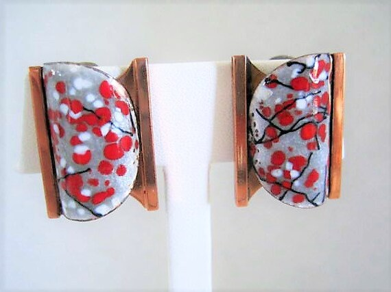 Matisse Red Enamel Earrings, Renoir Gray and Red, Mid Century, Fall Clip Ons