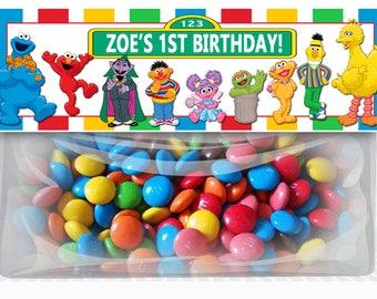 Sesame Street Birthday Goodie Bag Toppers, Elmo Personalized Party Favors, DIY Printables, Sesame Street Elmo Party Supplies, Dracula Abby