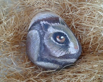 Squirrel painted on river Stone
