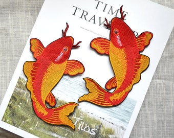 Red carp Embroidery patch ,Red Koi Fish sew on embroidered patch