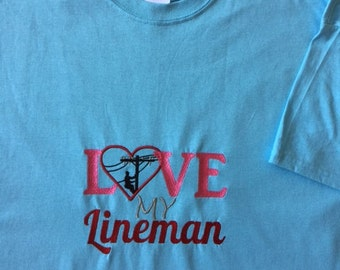 Lineman's shirt, Woman's shirt, Embroidered shirt, Proud Wife