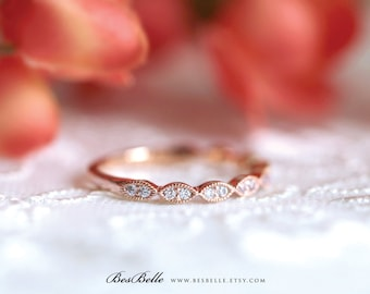2.0mm Wide Art Deco Wedding Band-Brilliant Cut Diamond Simulant-Stacking Ring-Half Eternity Ring-Rose Gold Plated-Sterling Silver [6053RGH]