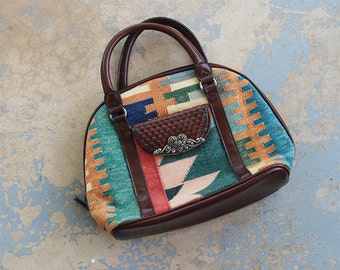 vintage 90s Kilim Purse - 1990s Ethnic Tapestry and Leather Handbag Western Doctors Bag