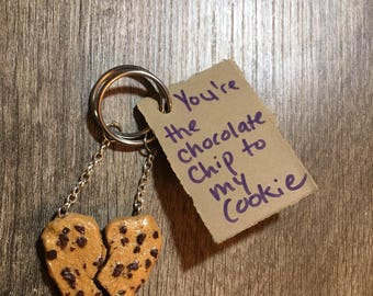 Chocolate Chip Cookie BFF Keychain, Best Friend Key Ring, Besties Gift, Key Chain, Friendship, Cookie Lover, Sisters, Couples Gift