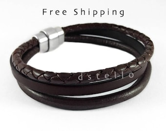Mens leather bracelet, 3year annivesary, Custom mens leather bracelet, Anniversary gifts for men, Dark brown leather - Anniversary gifts