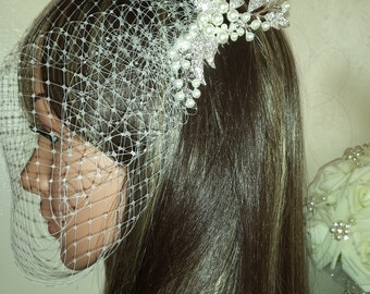 "Birdcage wedding bridal veil. Diamante and pearl sliver tone comb attached to 9"" Ivory French net veiling. FREE UK POSTAGE"