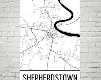 Shepherdstown Map, Shepherdstown Art, Shepherdstown Print, Shepherdstown WV Poster, Wall Art, Map of West Virginia, West Virginia Poster