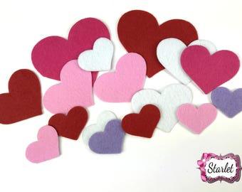 Valentine Heart Felts, Mix Heart Felts, Valentine Felt Pack