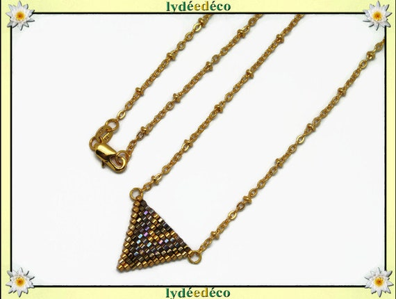 Necklace plated 18 k gold lilac Brown bronze amber iridescent and gold woven triangle chevron ball chain