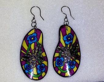 Funky paper mache style earrings with butterflies