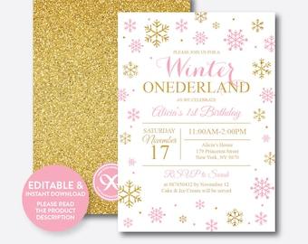 Instant Download, Editable Winter Onederland Birthday Invitation, Winter Wonderland Invitation, First Birthday, Pink and Gold, Girl (GKB.01)