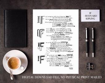 If Rudyard Kipling Poem, Digital Printable If Poem Print, Lettering, Literature Print, Poem Print, Custom Poem, If Framed
