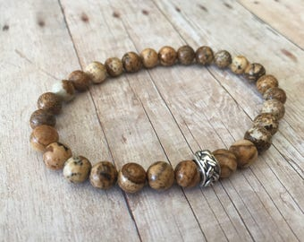 Picture Jasper Stretch Bracelet with Sterling Silver Accent Bead