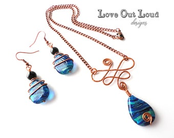 Copper & Blue Raindrop necklace and earrings set