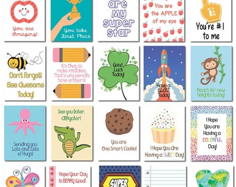 20 Lunch Box Notes Cards with Motivational Messages for Kids Children Kindergarten | back to school | Cute | Love Notes | Lunch Surprise