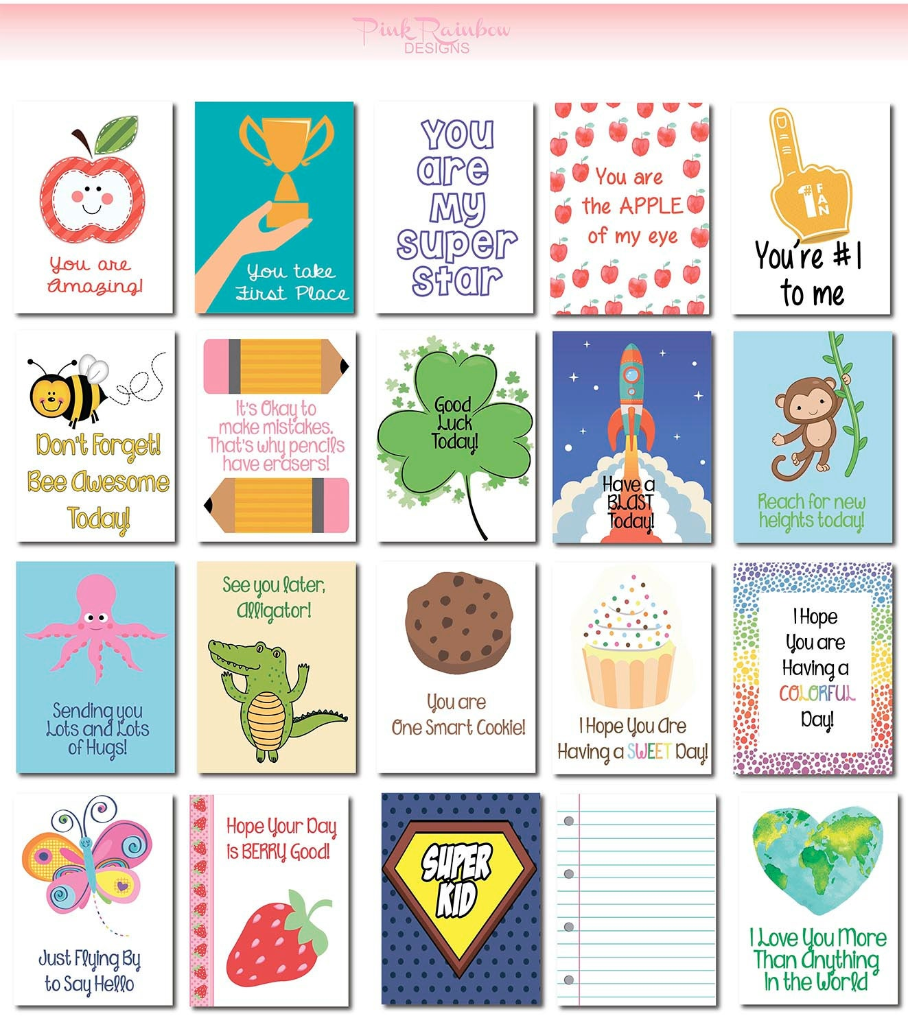 Motivational Messages 20 Lunch Box Notes Cards With Motivational Messages For Kids