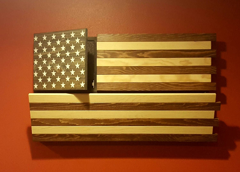 Rustic American Flag Gun Concealment Cabinet DUAL LOCKING