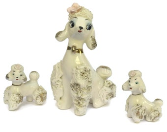 Vintage Spaghetti Poodle with Puppies.