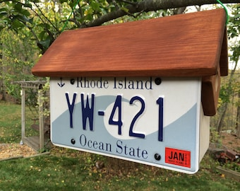 Handmade, Handcrafted Rhode Island License Plate Condo Birdhouse: Two Birdhouses in One!