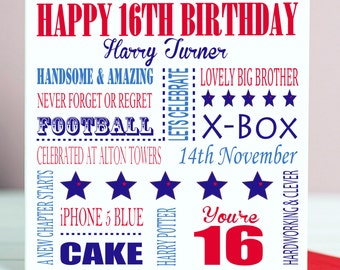 Personalised 16th Birthday Card For Him