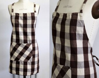 Vintage 1980s 1990s Gingham Full Apron / Brown and White Cotton Apron / 80s 90s Kitchen Apron / Cooking Apron With Pocket