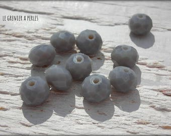 Grey Opaque 10 X 8 mm ABACUS beads