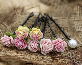 Small Pink Roses, Mulberry Paper Flower, Hair Pins , Bridal Hair Pins, Hair Bobby Pins,Prom,Bridal Hair Accessories (FL423)
