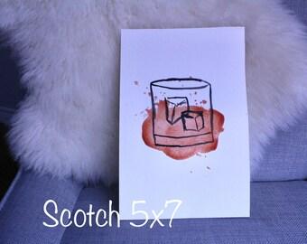 Original Watercolor Scotch Whiskey
