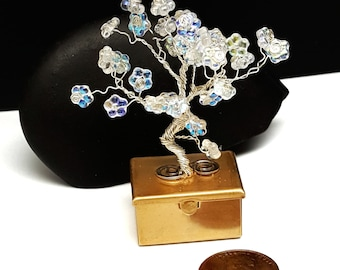 Spring Fairy Treasure Box Tree in Silver\  Tooth Fairy Box\ Tree of Life\ Wire Bonsai Tree\ Flowering Tree\Gifts for Her