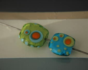 Lampwork Glass Hand-formed Retro Tab Focals (2)