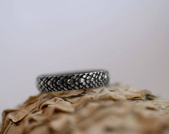 Defeat the Dragon - Silver Band - Textured Band - Scales - Sterling Silver - Protection - Survival - Snake Ring - Serpent - Mythical -