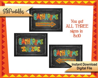 Fiesta Bathroom signs, 8x10 Bathroom sign, Cinco de Mayo Party Decor, Fiesta Birthday sign, Fiesta chalkboard sign, Birthday Fiesta Sign