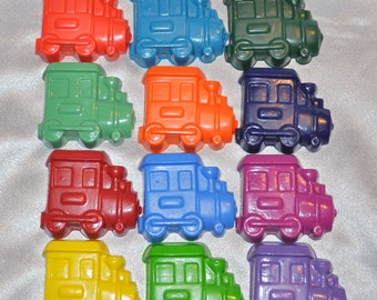 Train Crayons, Train Party Favors, Train Shaped Recycled Crayons, Total of 25.  Boy or Girl Kids Unique Party Favors, Crayons.