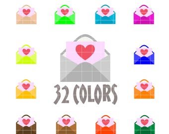 Envelope Heart Clip Art - Valentines Day Clipart - Set 0f 64 Graphics in 32 Colors - High Quality PNG & JPEG Files. Free for Commercial Use.