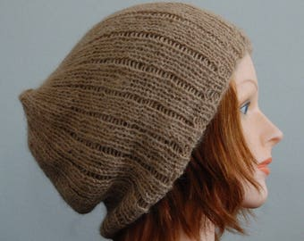 Natural RIAF Soft Warm Hand Crafted Alpaca Slouchy Beanie Hat, Light Brown