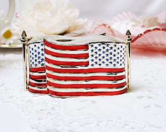 American flag salt + pepper set:  silver plated  salt and pepper set in heavy plate, A patriotic addition to your dining table.