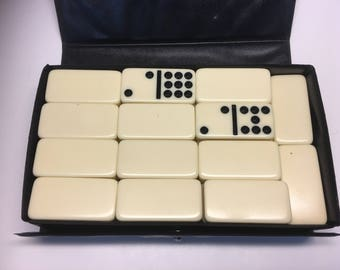 Set of 54 Double-Six Vintage King-Size Dominoes by Cardinal in Vinyl Case, 2x1x3/8 Inches