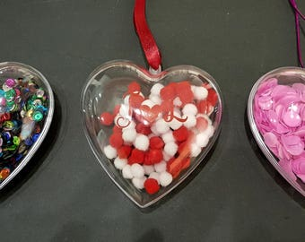 Heart filled personalised baubles